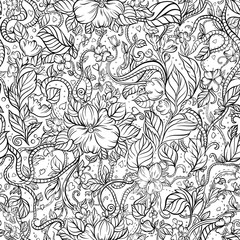 Seamless doodle background with flowers, hearts and leaves.  Black lines on the white background.
