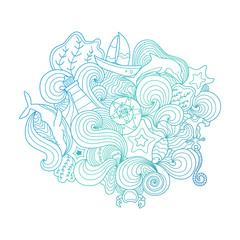 Beautiful marine doodle illustration. Bright doodle lineart with nautical elements. Ideal for prints and decoration.