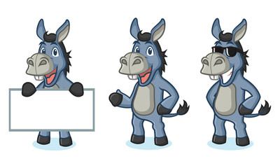 Blue Donkey Mascot happy