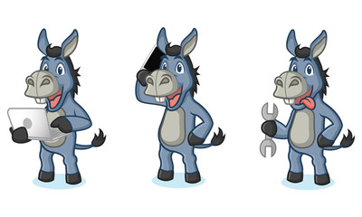 Blue Donkey Mascot with laptop