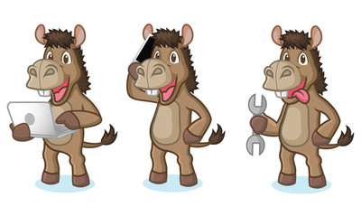 Brown Donkey Mascot with phone
