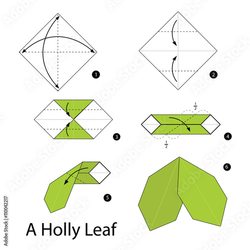 Step By Step Instructions How To Make Origami A Holly Leaf Stock