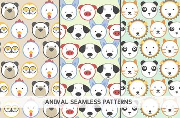 Set of 3 animal head seamless patterns
