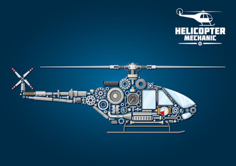 Silhouette of mechanical detailed helicopter