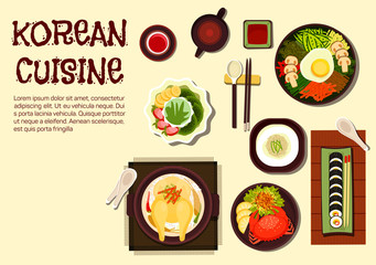 Korean refreshing summer dishes flat icon