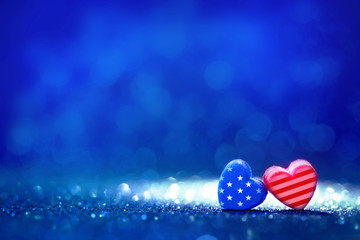 American flag Heart shapes on abstract light glitter background