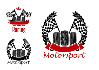 Motorsport competition icons with wheels and flags