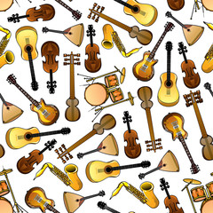 Classic, ethnic music instruments seamless pattern