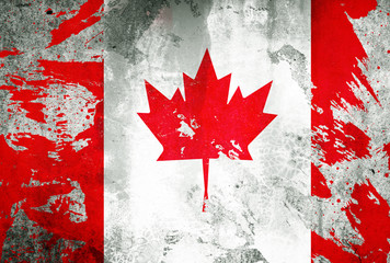 Canada flag with Gypsum house wall dirt by color painted