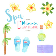Watercolor Spa design elements on white background