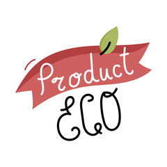 Organic food label isolated on white background. Logo for vegan menu or food. Cute cartoon vector illustration.