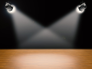 blank stage with shining lights
