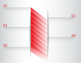 Abstract modern background with red rectangle lines and paper cut shadow infographic