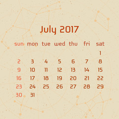 Vector calendar for 2017 in the retro style. Calendar for the month of July with the image of the constellations on beige scratched background. Elements for creative design ideas of your calendar