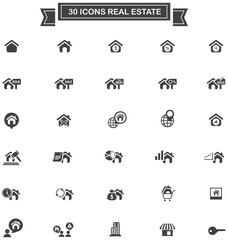 30 Real estate business industry and investment sign and symbol icon set, create by vector