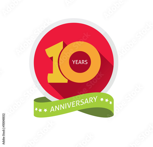 Anniversary 10th Logo Template With A Shadow On Circle And The