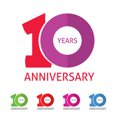 10th anniversary logo template with a shadow on circle number 1 one. 10 years anniversary icon. Ten years birthday party symbol. Tenth company sale sticker, badge, ribbon, poster, logotype, emblem
