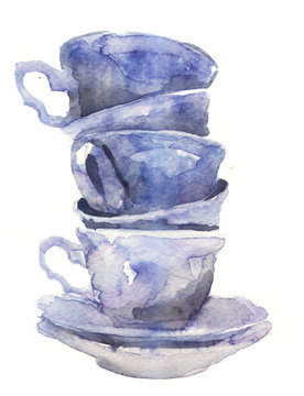watercolor sketch: a cup of tea on a white background