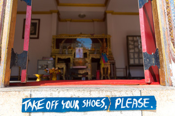 Take off shoes sign before entering in Thai temple in Bangkok, T