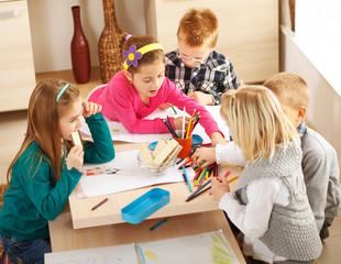 Group of kids draw at classroom.Preschool.