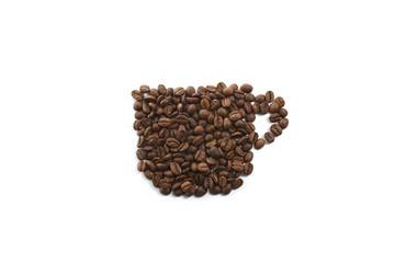 コーヒー豆でコーヒーカップ