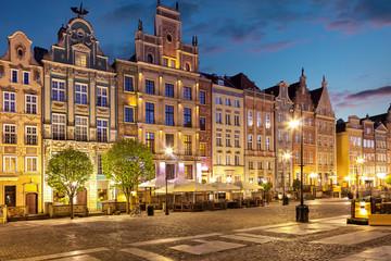 Obraz Stare Miasto nocą w Gdańsku - fototapety do salonu