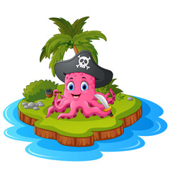 Octopus pirate in island