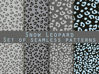 Leopard skin seamless pattern. Set snow leopard pattern. Vector.