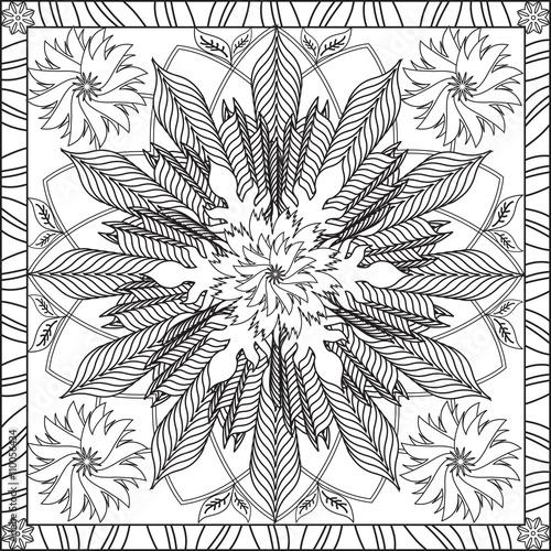 Page coloriage pour adultes livre design motif fleur g om trie spirale fleur feuillage mandala - Coloriage fleur geometrique ...