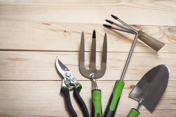 garden tools on wooden background