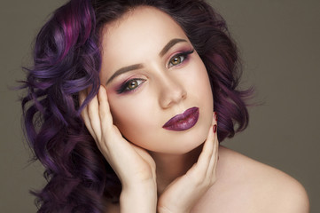 Portrait of beautiful sexy fashion model with purple hair