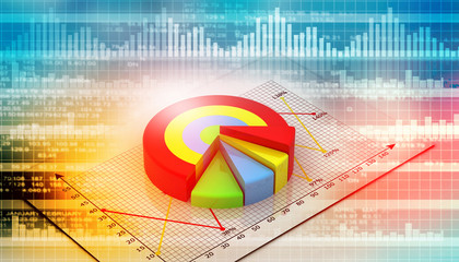 Financial charts and graphs with digital background.
