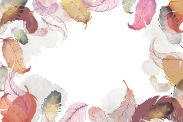 Creative Illustration and Innovative Art: Feather Leaves, Water Color Style. Realistic Fantastic Cartoon Style Artwork Scene, Wallpaper, Story Background, Card Design