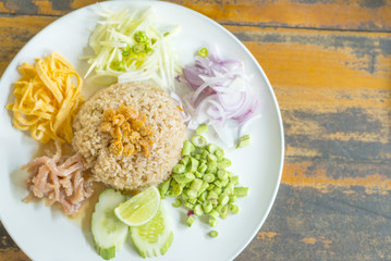 Mixed Cooked Rice with Shrimp Paste Sauce delicious Thailand's national dishes,  in Thai call  - Kao Cluk Ka Pi