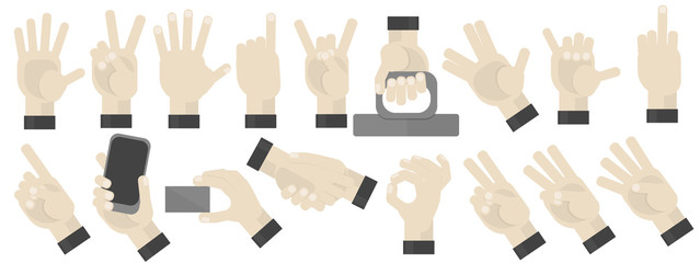 Wall Mural - Hands gesturing set on white background. Shaka, holding a phone, card, handshaking, peace and victory pointing, rock, vulcan salute gesturing. Counting.