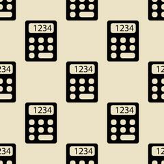 Icono plano patrón con calculadora sobre fondo rosa