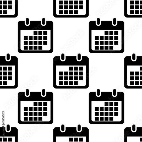 Calendario Vector Blanco.Icono Plano Patron Con Calendario Sobre Fondo Blanco Stock