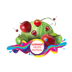 Summer fruits festival with isolated background