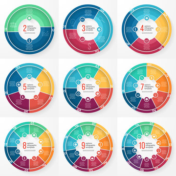 Vector business pie chart templates set for graphs, charts, diagrams. Business circle infographic concept with options, parts, steps, processes.