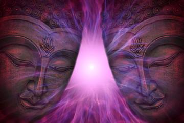 Obraz Budda stoi przed promieniami energii - fototapety do salonu