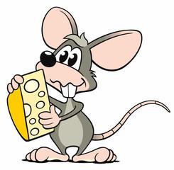 Cartoon Maus grau Käse riechen