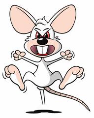 Comic Maus weiß agressiv springen Wut