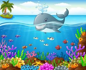 Keuken foto achterwand Onderzeeer Cartoon whale under the sea