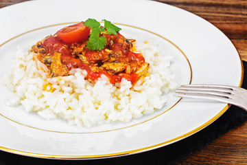 Rice with Canned Fish in Tomato Sauce