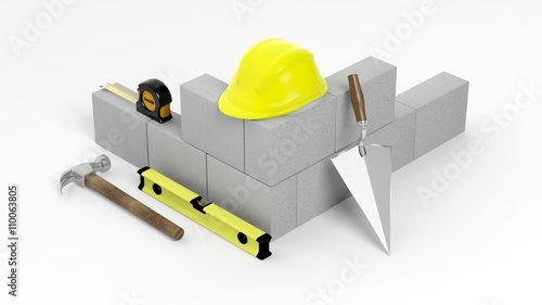 3d rendering of masonry tools and bricks isolated on Online rendering tool