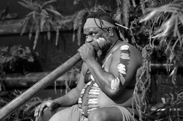 Aboriginal man play Aboriginal music on didgeridoo