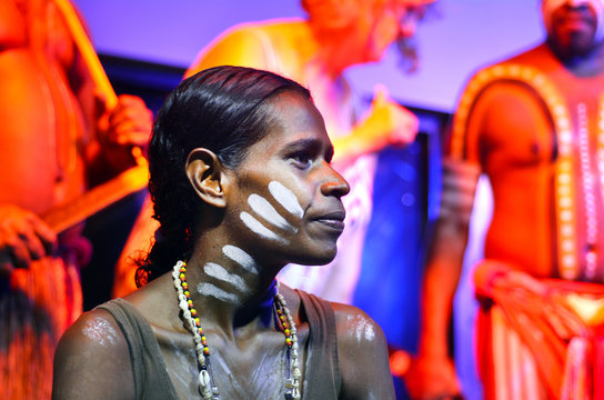 Yirrganydji Aboriginal woman and men in Queensland Australia
