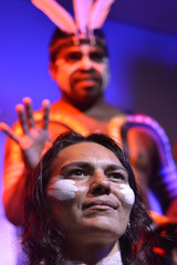 Yirrganydji Aboriginal woman and man in Queensland, Australia