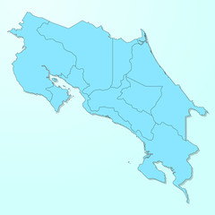 Costa Rica blue map on degraded background vector