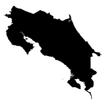 Costa Rica black map on white background vector